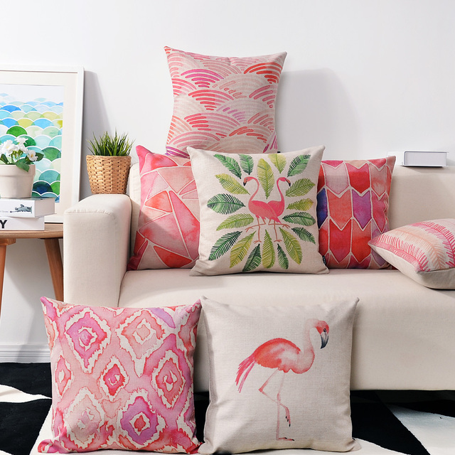 Nordic Watercolor Pink Flamingo Pillow cushions Birds lumbar pillow ...