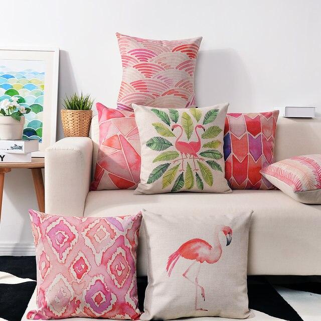 Online Shop Nordic Watercolor Pink Flamingo Pillow cushions Birds ...
