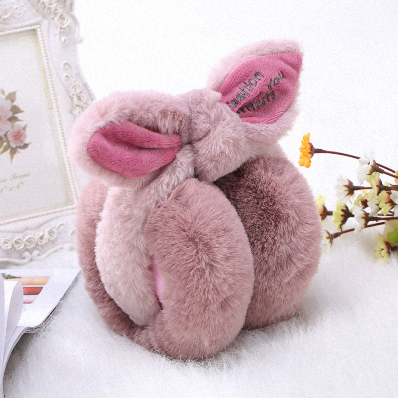Elegant Rabbit Bowknot Winter Earmuffs For Women Warm Earmuffs Ear Warmers Gifts For Girls Cover Ears Fashion E003-peach