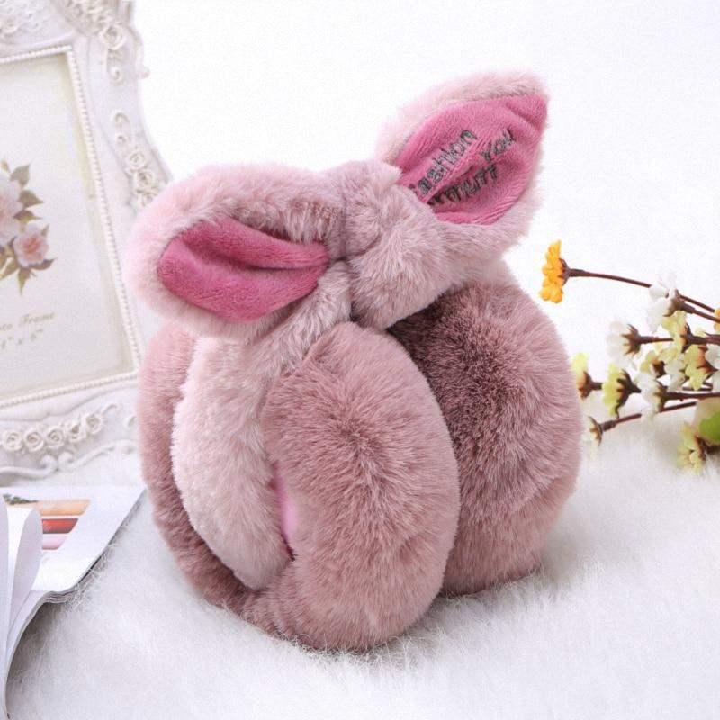 Elegant Rabbit Bowknot Winter Earmuffs For Women Warm Earmuffs Ear Warmers Gifts For Girls Cover Ears Fashion E003-peach