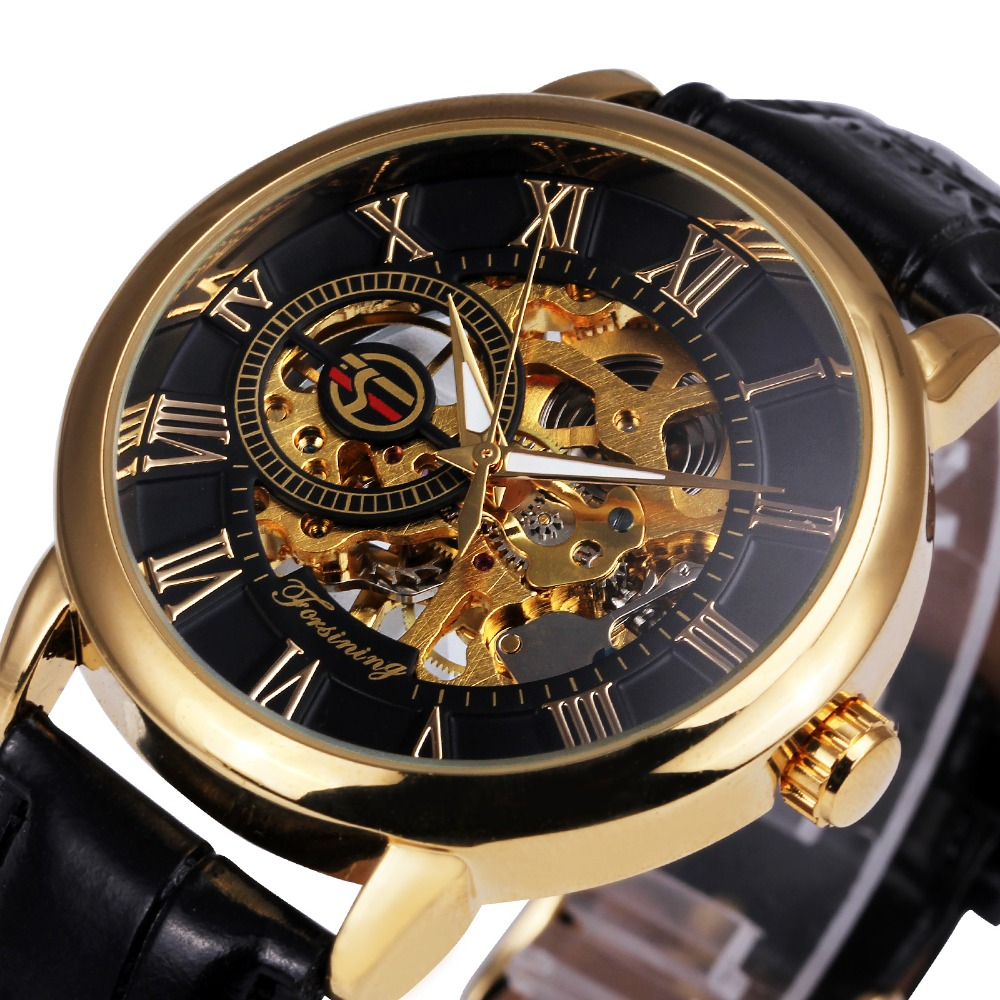 2017 Forsining 3d LogoBlack Gold Men Mechanical Watch Montre Homme Mens Watches Top Brand Luxury Leather