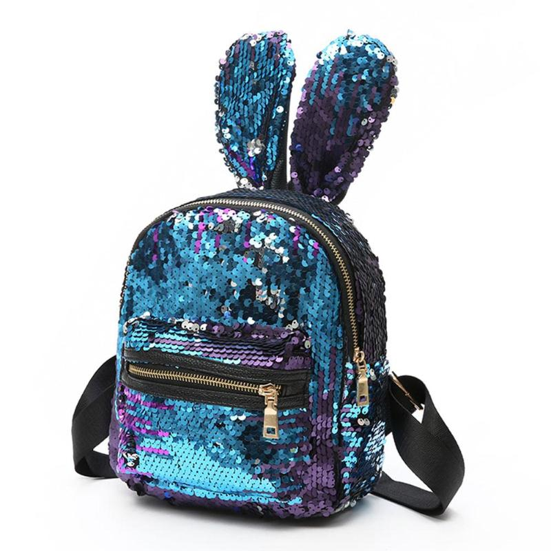 Fashion Backpack Pu Leather Women Bag Sweet Girl Mini Shoulder Bag Cute Rabbit Ear Sequins Rivet Small Backpack Travel Backpack