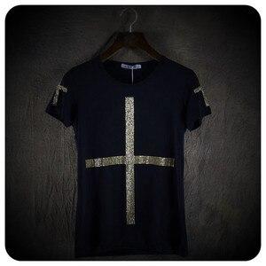 Image 1 - Yüksek kalite erkekler moda çapraz pullu kısa kollu t gömlek gece kulübü sahne kostüm erkek şarkıcı hip hop punk tees tops streetwear