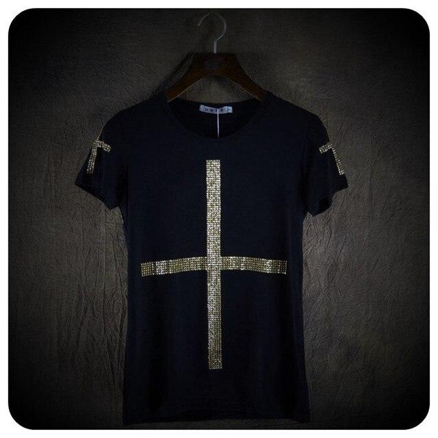 Yüksek kalite erkekler moda çapraz pullu kısa kollu t gömlek gece kulübü sahne kostüm erkek şarkıcı hip hop punk tees tops streetwear