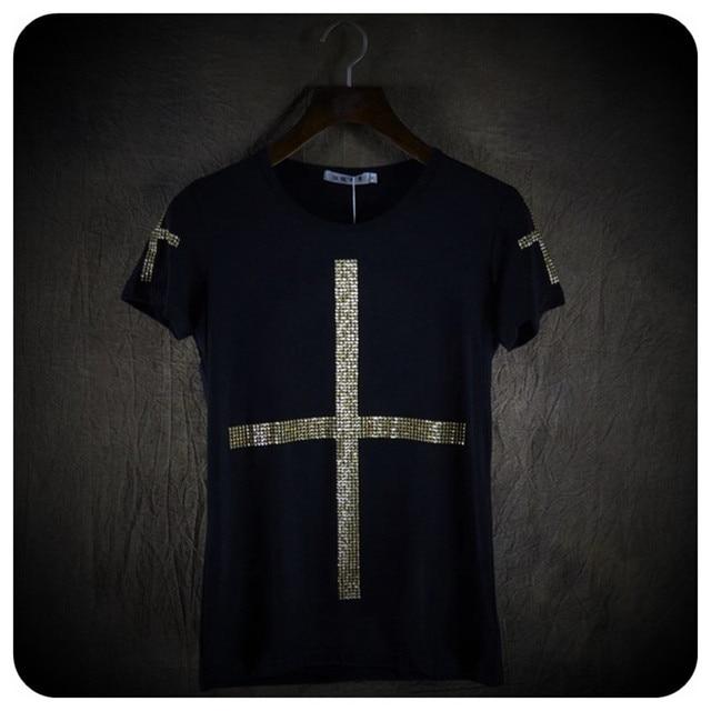 באיכות גבוהה גברים אופנה צלב נצנצים קצר שרוול t חולצה מועדון לילה שלב תלבושות mens הזמר היפ הופ פאנק tees חולצות streetwear