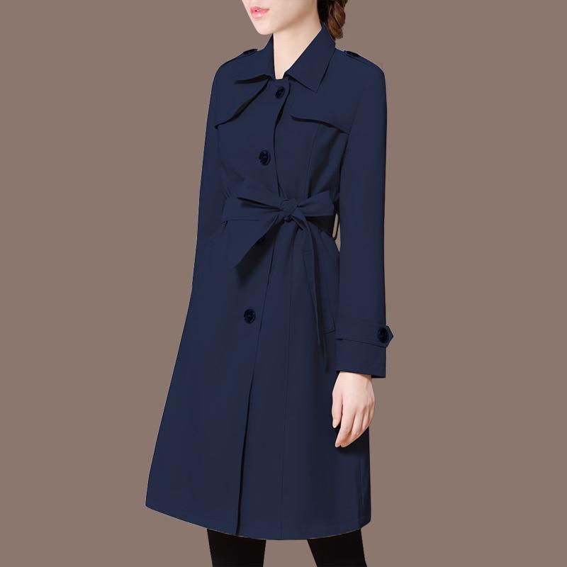 Mujeres Auto Para De Black blue Coreana Pure Otoño Del Coat Versión cultivo 2018 Las pink Trench Foso Larga Color Nueva Capa Windbreaker Resorte Oq5ccHwxvg