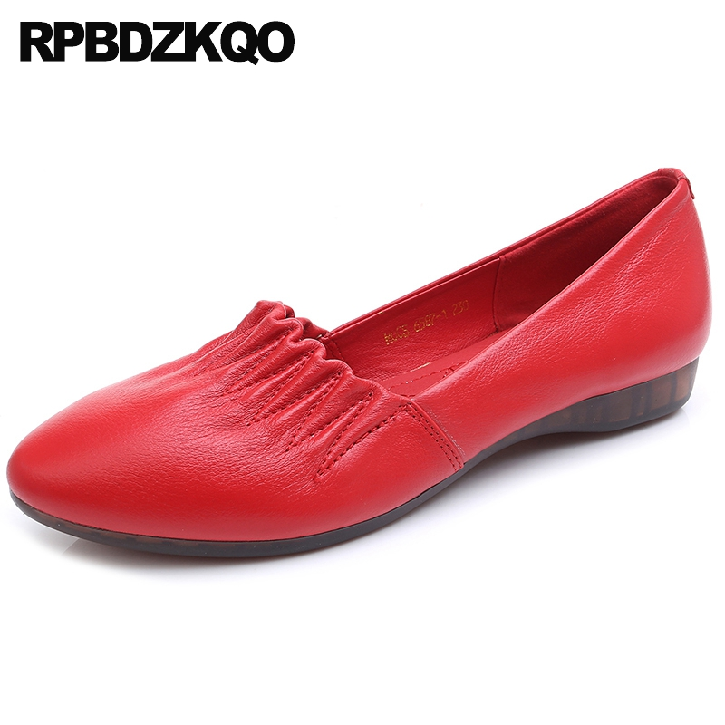 elderly size 43 large 10 white slip on red women foldable ballet flats 11 ladies designer ballerina pointed toe chinese shoes