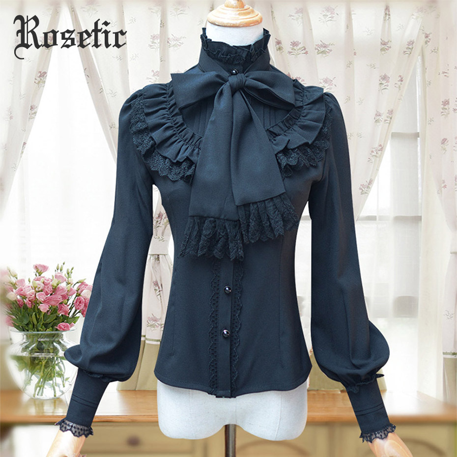 Gothic Lolita Ruffled Blouse Women 2018 New Fall Turtleneck Stringy Selvedge Chiffon Bow Female Elegant Slim Noble Vintage Shirt