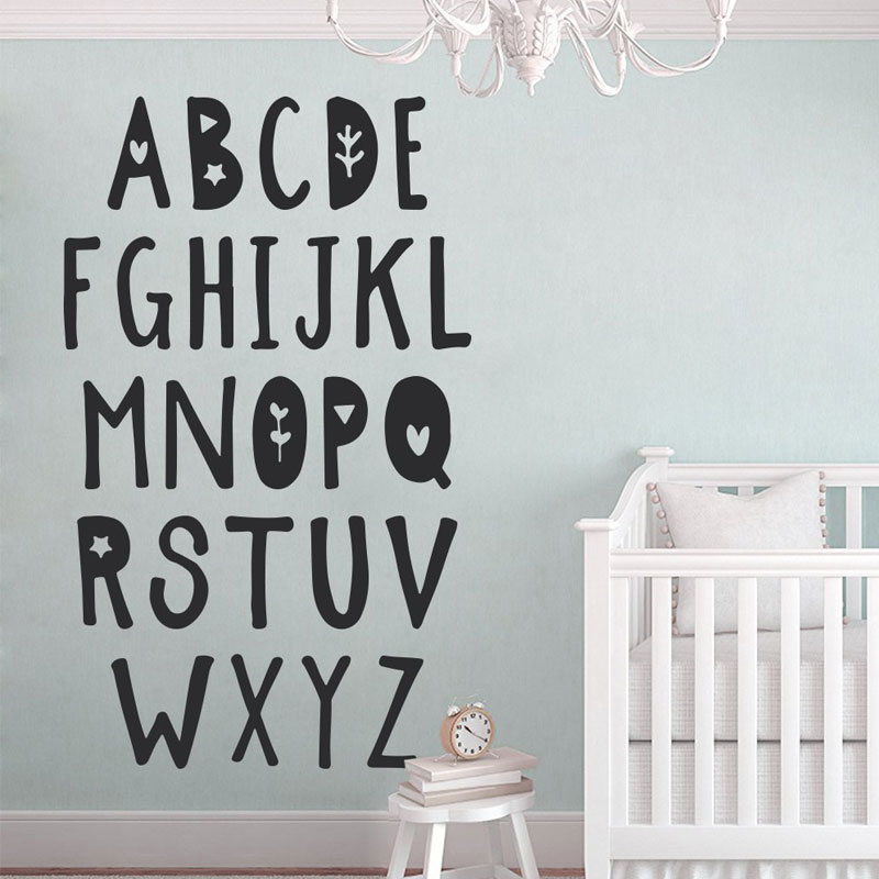 Cute Alphabet Print Wall Decal, Alphabet Letters, Nursery