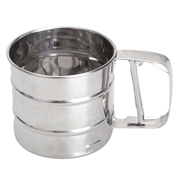 Mesh Flour Bolt Sifter Manual Sugar Icing Shaker Stainless Steel Cup Shape Sale