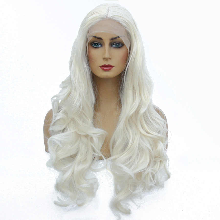 Ombre Body Wave Lace Front Wig 24Inch Long Synthetic Wig For Women Pink White Brown Cospaly Wigs Heat resistant Hair Eunice Hair