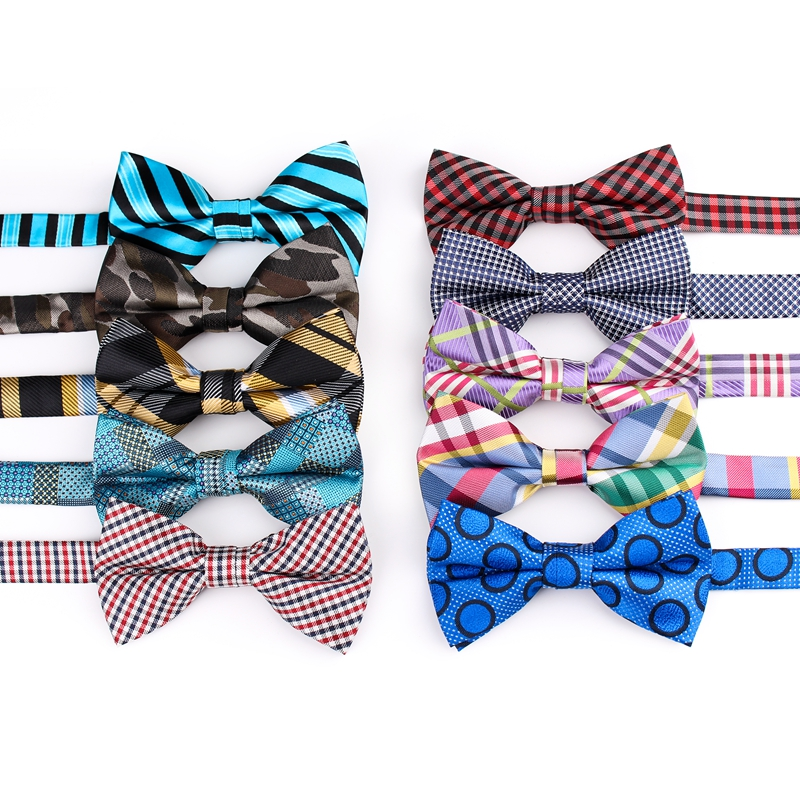Striped Plaid Dot  Polyester Men Women Bow Tie  Casual Butterfly Cravat For Mens Party Wedding