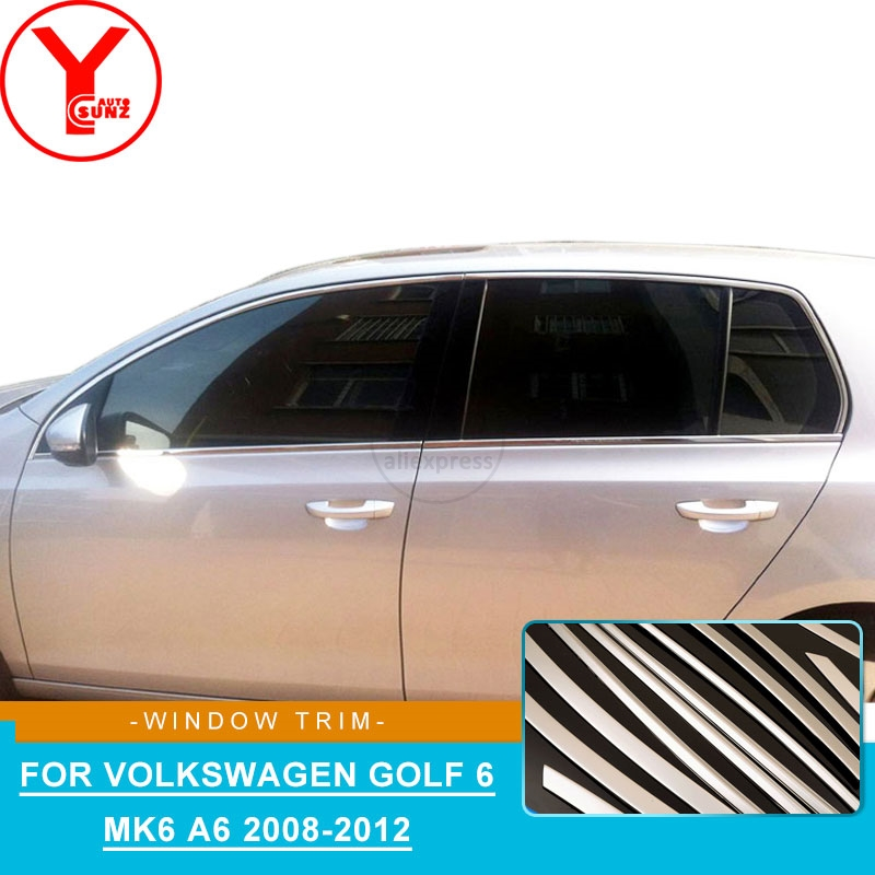 YCSUNZ exterior side window trim strips Stainless Steel parts accessories For Volkswagen golf 6 mk6 A6 2008 2009 2010 2011 2012YCSUNZ exterior side window trim strips Stainless Steel parts accessories For Volkswagen golf 6 mk6 A6 2008 2009 2010 2011 2012