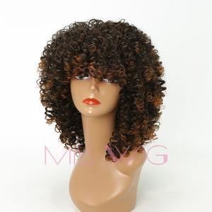 Image 3 - MISS WIG perruque synthétique Afro longue et bouclée et crépue de 18 pouces, perruque américaine mixte Blonde et brune 280g pour femmes noires