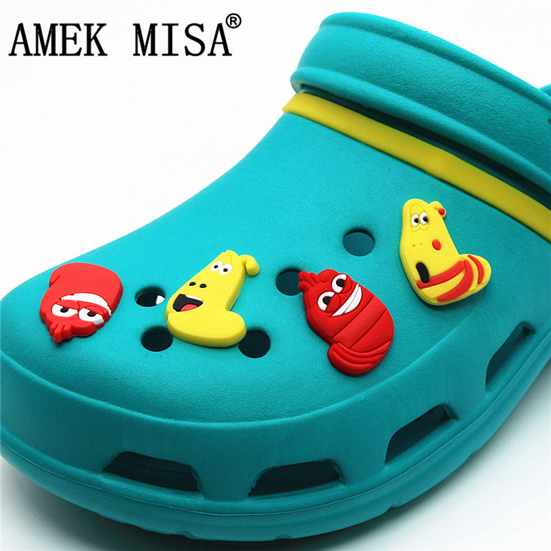 4Pcs/Set PVC Korean Cartoon Larva Shoe Decorations Hilarious Bug Garden Shoe Croc Charm For JIBZ/ Wristbands Kids Party Xmas
