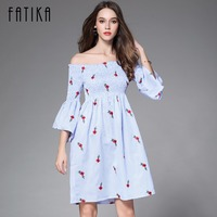 FATIKA 2017 New Women Fashion Casual Printed Off The Shoulder Flare Sleeve Pleated Dresses Ladies Stretched