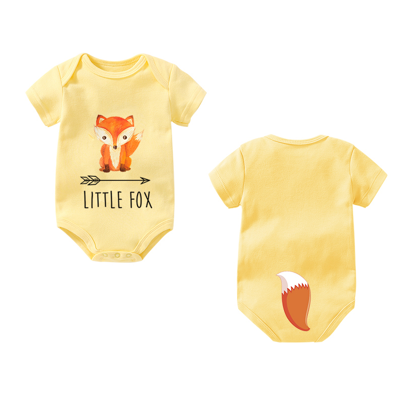 2019 Ysculbutol New Design Fashion Fox Tail Baby Bodysuit Customized Baby Boy Girl Clothes