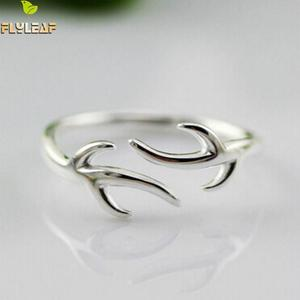 925 Sterling Silver Christma snowflake antlers ring for women summer style fashion open engagement ring Jewelry Anillos De Plata