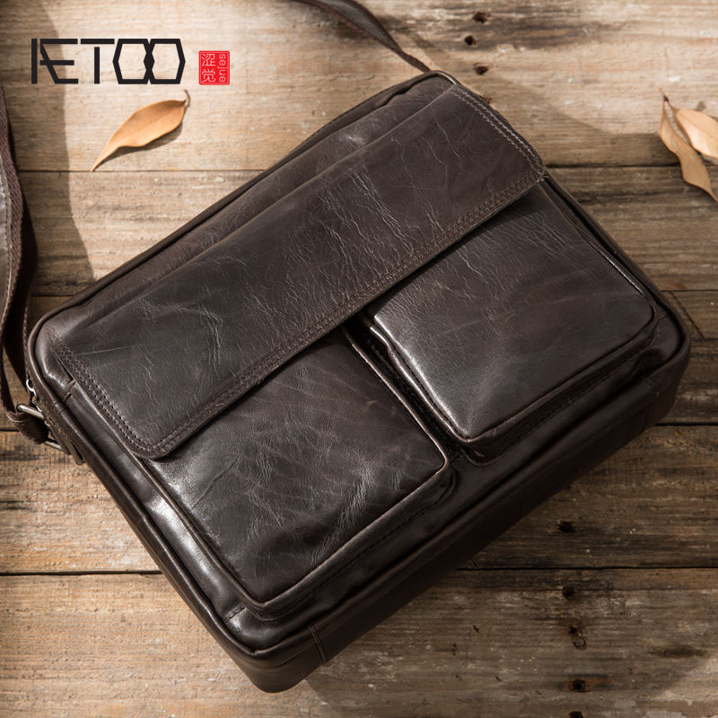 AETOO 2017 new head of the first layer of cowhide oil wax leather British college wind postman package leather leather retro men smc the new head of passing filter aff150a 40