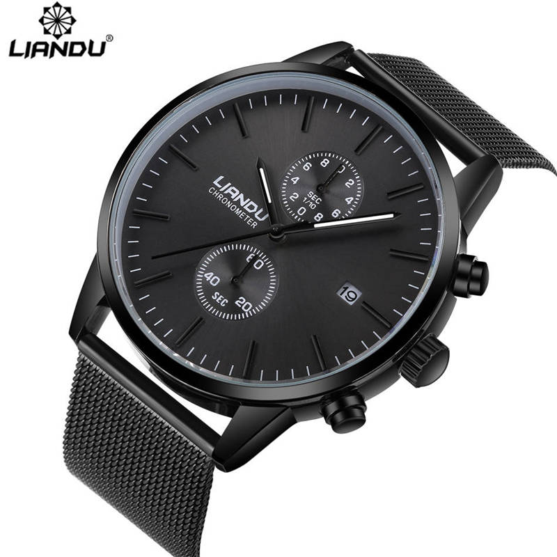 LIANDU Mode hommes Montres Chronographe Sport quartz-montre En Acier Inoxydable Maille Marque Hommes Montre multi-fonctions Montres-bracelets