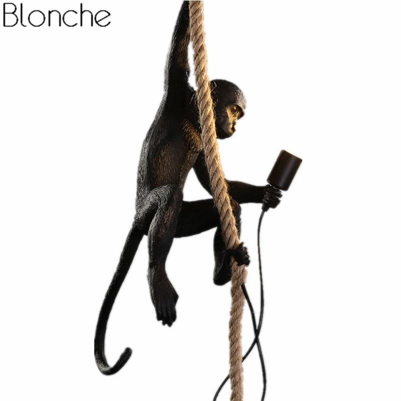 Modern Black Monkey Lamp Pendant Lights Industrial Hemp Rope Resin Hanging Lamps Living Room Luminaire Home