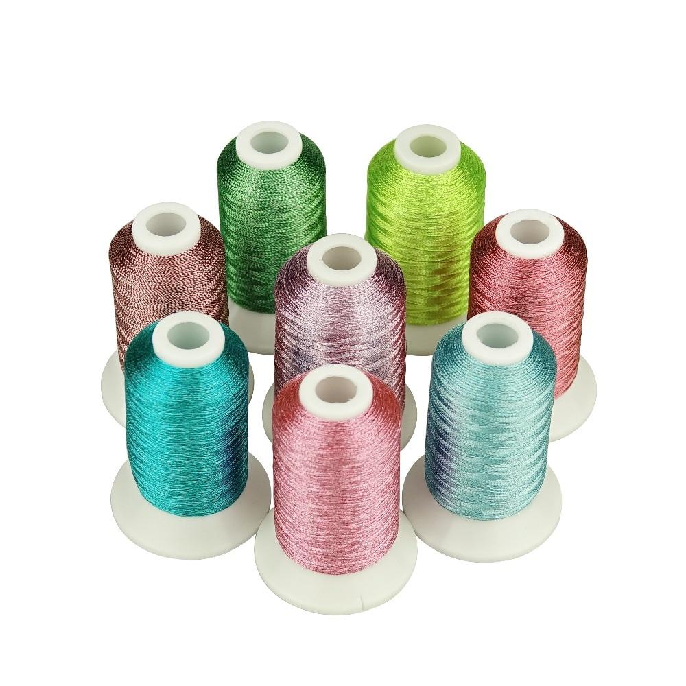 Linha metálica para o bordado 8 cores brilhantes dos doces como linhas do bordado da máquina/mão