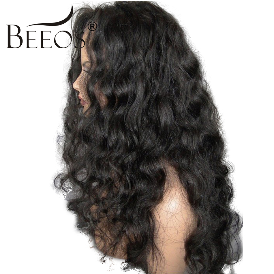 BEEOS 150% Density Curly Human Hair Lace Front Wigs Black Women With Baby Hair Remy Braz ...