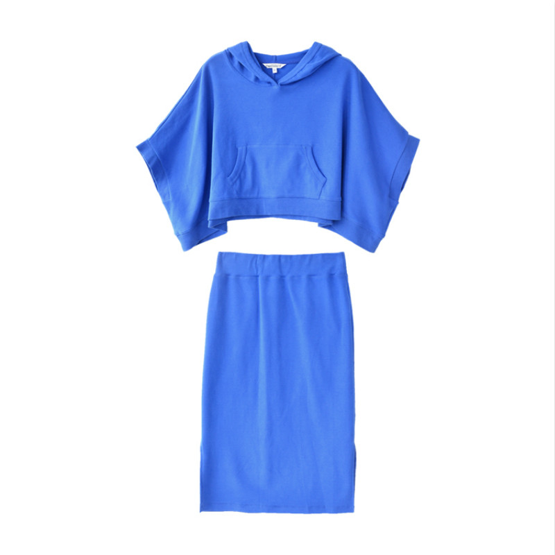 Dabuwawa New Ladies Women 39 s Fashion Hooded Tops Pullover Short Skirts Set Royal Blue Casual 2 Pieces Sets D18CSA016 in Women 39 s Sets from Women 39 s Clothing