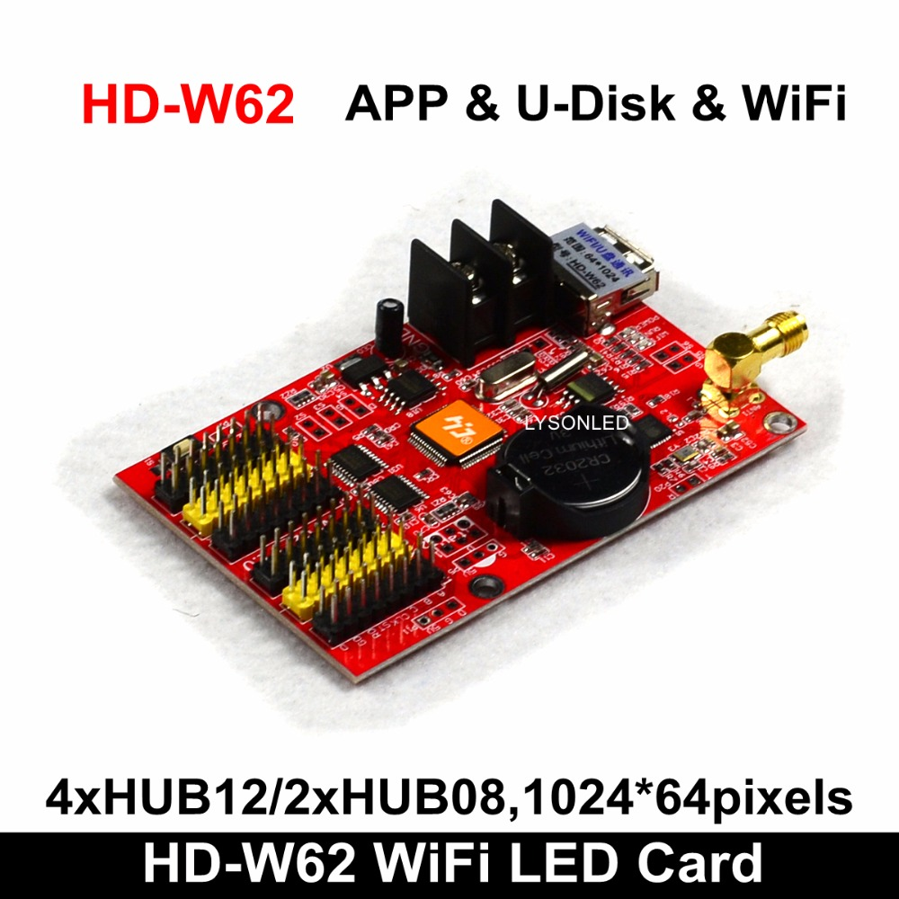 HD2018 HD-W62 APP & U-disk & Wifi P10 LED Message Display Controller Card, Single & Dual Color P4.75 P10 P16 LED Controller