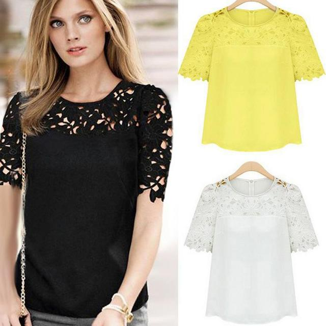 042424d00c4 2014 new hollow out chiffon Embroidery top flowers black half sleeve plus  size xxxl lace sheer blouses women chiffon tops C5