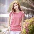 Verão 2017 Mulheres assentamento camisa era magro solta grandes estaleiros de algodão curto-de mangas compridas t-camisa de t camisas