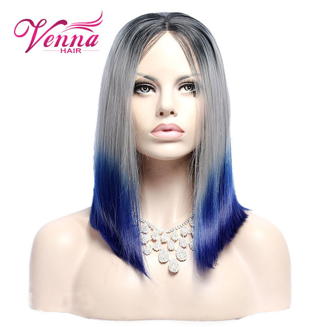 New Stylish Synthetic Wigs Short Straight Hair Grey With Blue