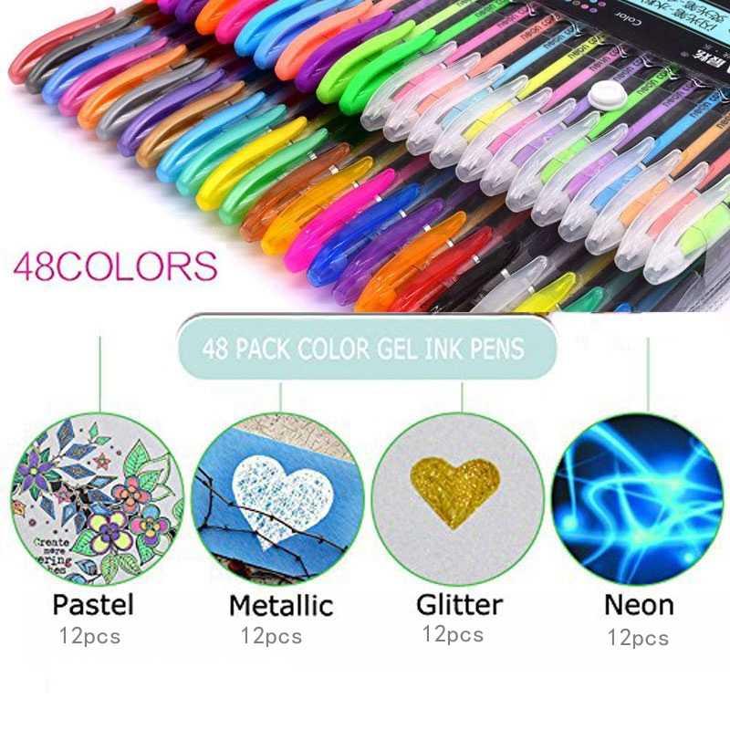 12 couleurs Gel stylo ensemble métallique Pastel paillettes école papeterie marqueur bricolage croquis peinture dessin Doodling stylo pour enfants cadeaux