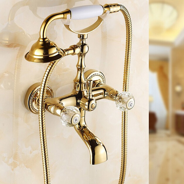 China high quality Vintage style Antique Brass Finish Inspired Tub shower set for faucet with Shower Head LYSLQ-3 sognare new wall mounted bathroom bath shower faucet with handheld shower head chrome finish shower faucet set mixer tap d5205