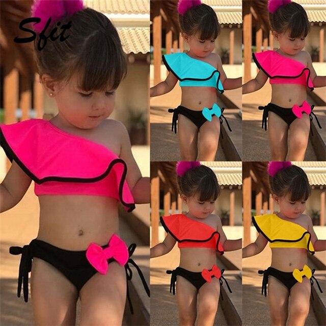 Sfit Summer Baby Kids Girl Two Piece Swimsuit Child Swimwear Ruffles Bow Water Sports Bikini Shoulder Beach Bathing Costume 2019