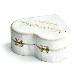 Image 5 - Vintage Beyaz Kalp Alyans Kutusu, Kişiselleştirilmiş Ahşap Düğün Halka Yastık Kutusu, Rustik Düğün Yüzük Tutucu Kutusu