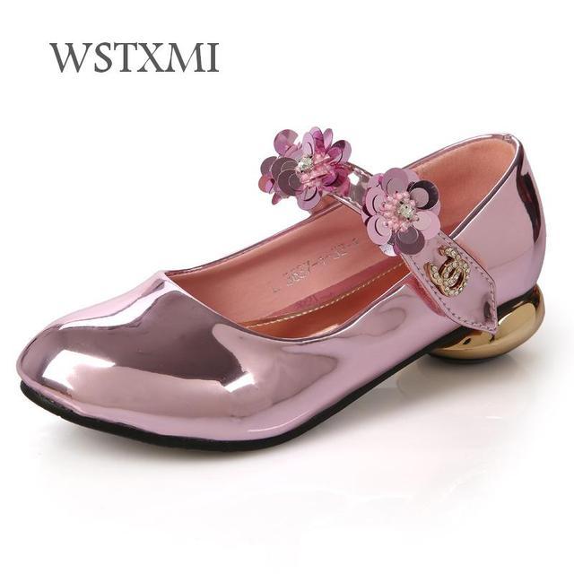 Oferta Nuevos Zapatos Para Niñas De Cuero Tacón Alto Flor