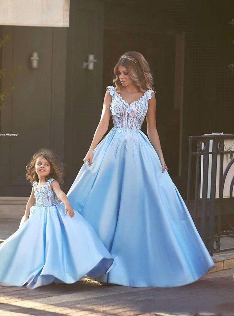 Mom And Daughter Dress Wedding Party Vintage Birthday Formal Clothes Mother Kids Matching Elegant Dresses Family Look