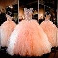 2017 Nova Listagem Do Pescoço Da Colher Bola Vestidos Vestido Para 15 anos belo pêssego vestidos quinceanera sweet 16 vestido de baile de tule X0624