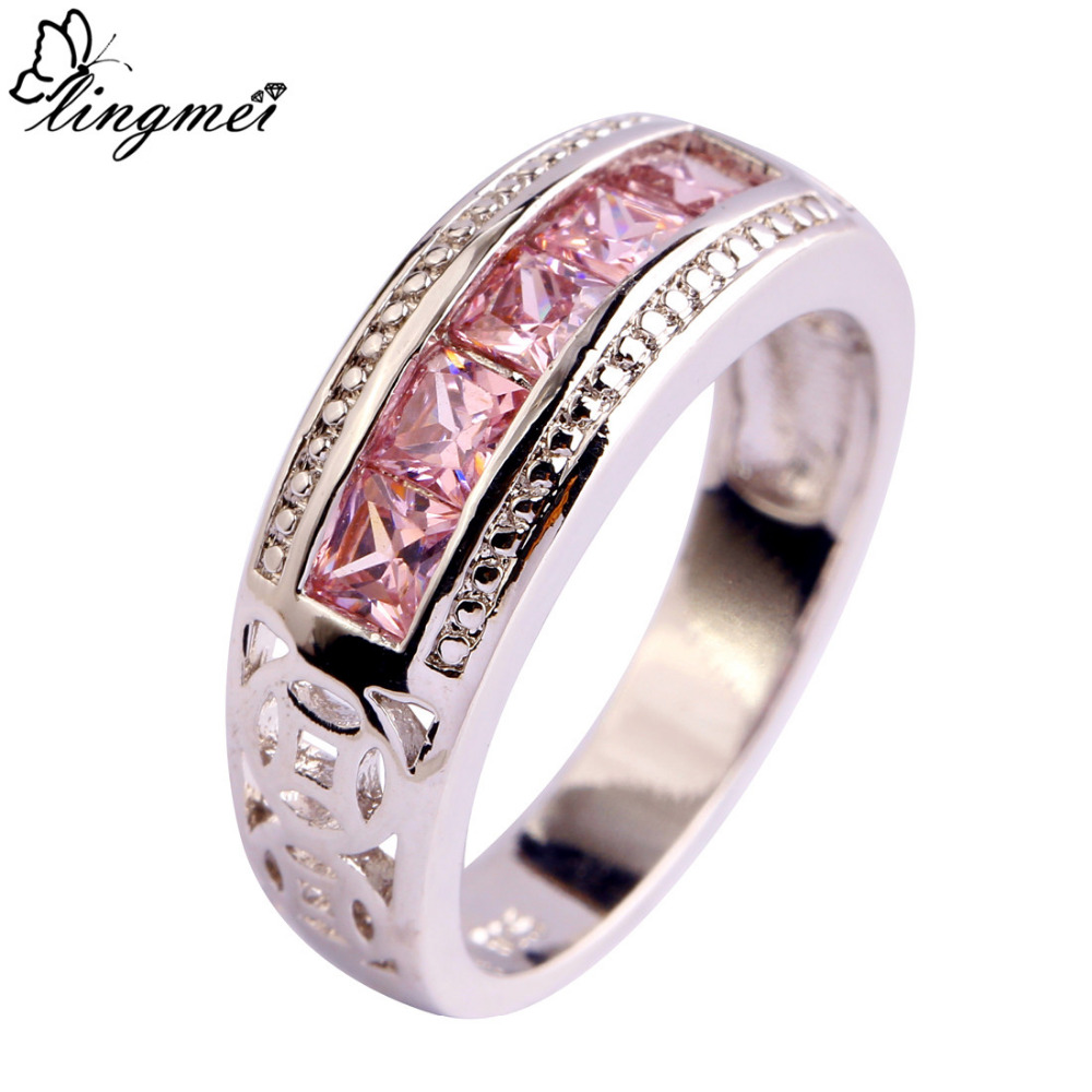 Lingmei Free Shipping Pink Cz New Popular Silver Color Ring Jewelry For  Women Gift Size 6