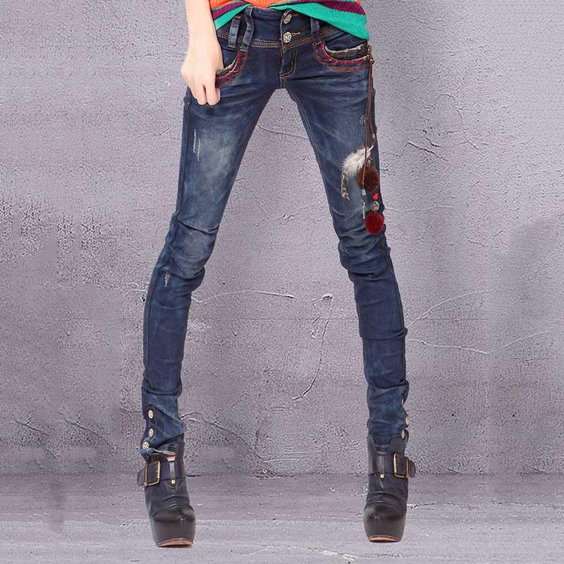 Otoño Hecha Mano Bordado A Artka Pantalones Lavado K810056q Lápiz Decoración Blue Nuevo Slim Mujeres Fit gwWcqq4X5