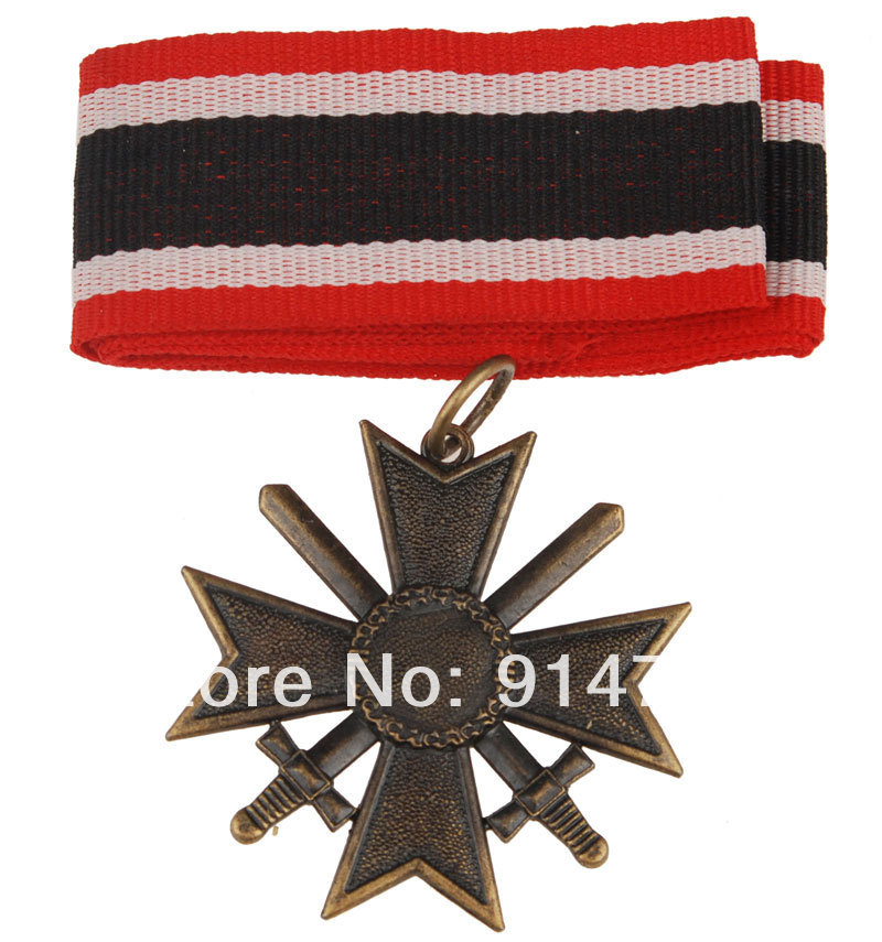 WWII GERMAN MERIT CROSS FIRST CLASS SWORDS BADGE WITH RIBBON-33966