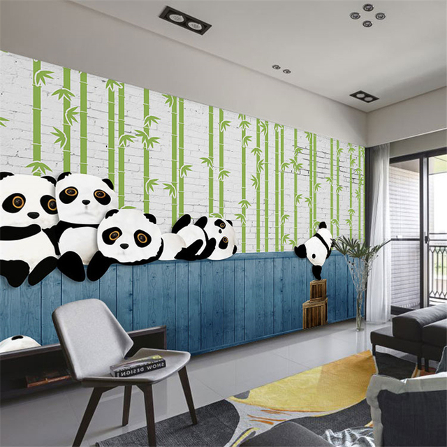 Beibehang Custom 3D Modern Simple Panda Animal Children Room Theme Fresco Living  Room Background Wallpaper Papel