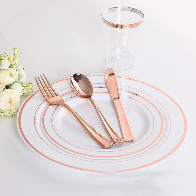 Disposable Dinnerware Set Gold/Silver/Rose Gold Knife/Fork/Spoon Coffee Restaurant Tableware Dining Spoon For European Dessert