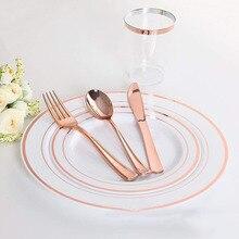 ชุดอาหารเย็นแบบใช้แล้วทิ้งทอง/เงิน/Rose Gold มีด/ส้อม/ช้อนกาแฟร้านอาหารบนโต๊ะอาหารช้อนรับประทานอาหารสำหรับยุโรปขนมหวาน