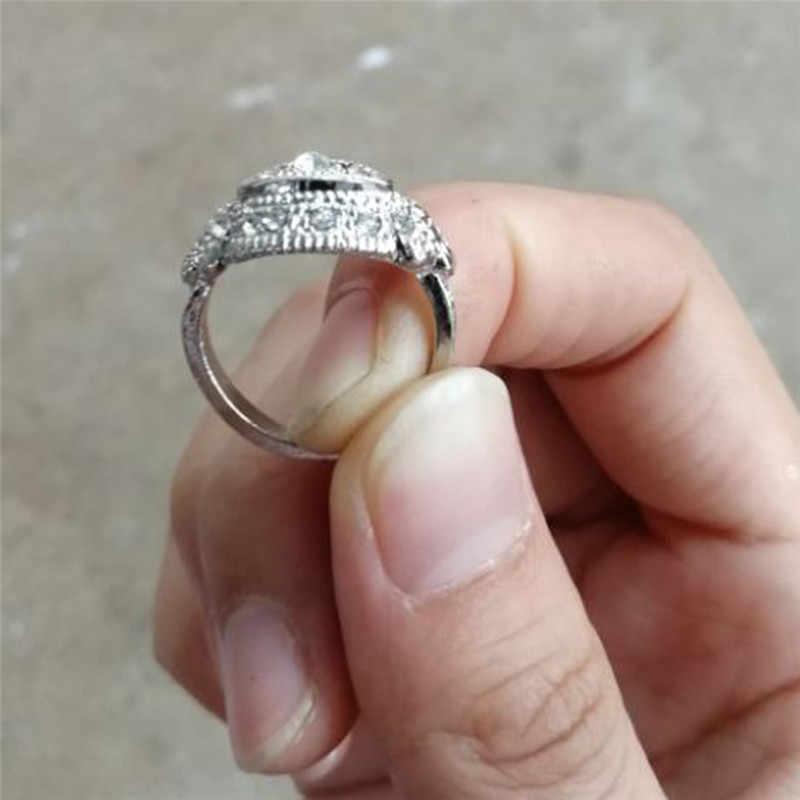Romad oco anel de prata para as mulheres do vintage anel de dedo étnico anel de jóias feminino retro africano boho anel para casamento r4