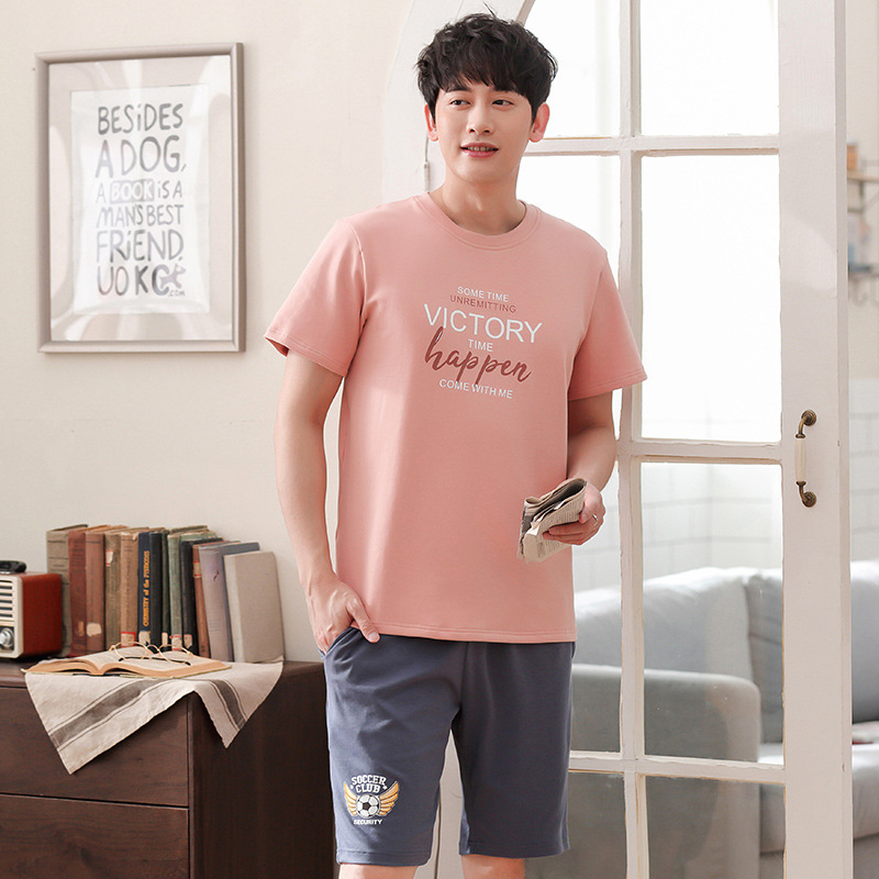 Men new summer cotton Korean pullover pajamas casual short sleeve shorts thin two piece men pajama sets men pajamas  pajama set(China)