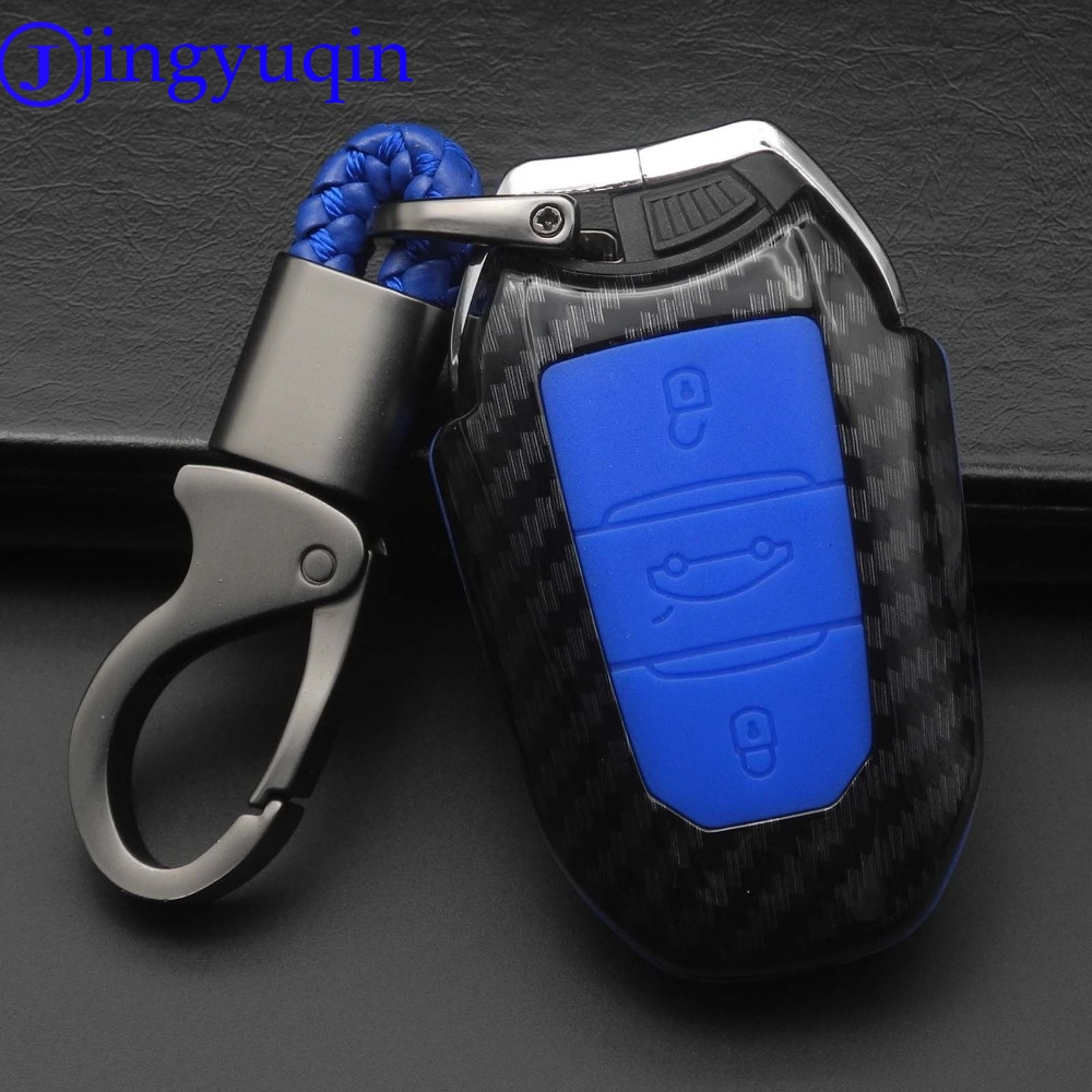 jingyuqin 3B Carbon Fiber Silicone <font><b>Key</b></font> Case <font><b>Cover</b></font> For Citroen C4 CACTUS C5 C3 C4L For <font><b>Peugeot</b></font> 508 301 2008 <font><b>3008</b></font> 408 Smart <font><b>Key</b></font> image