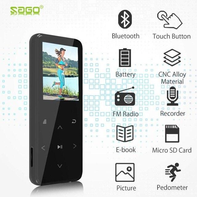 Саго M2 Bluetooth 4,0 без потерь звук MP3 музыкальный плеер 16 GB 1,8 дюйма Цвет Экран цинковый сплав + 2.5D Стекло боди с FM радио