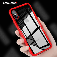 USLION Shockproof Armor Phone Case For iPhone X 8 Transparent Tempered Glass Back Cover Clear Cases For iPhone 7 8 6 6S Plus